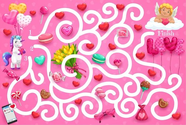Doolhofspel voor kinderen valentijnsdagthema