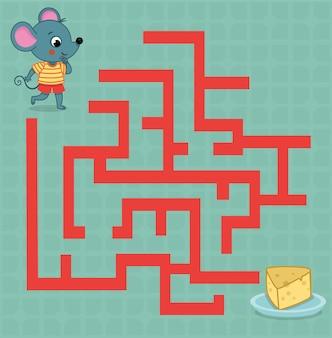 Doolhofspel voor kinderen vectorillustratie van een muis en een kaasplankje