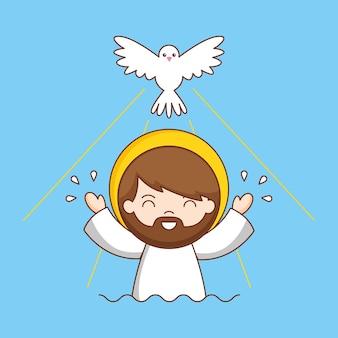 Doopsel van jezus met duif, cartoon afbeelding