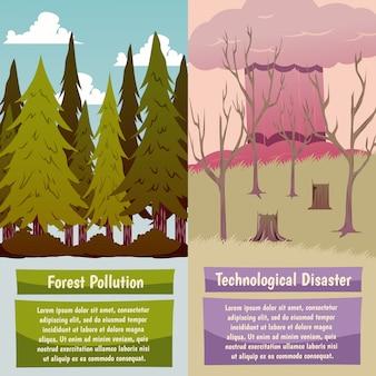Door de mens gemaakte orthogonale banners voor rampen