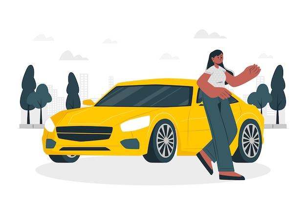 Door mijn auto concept illustratie