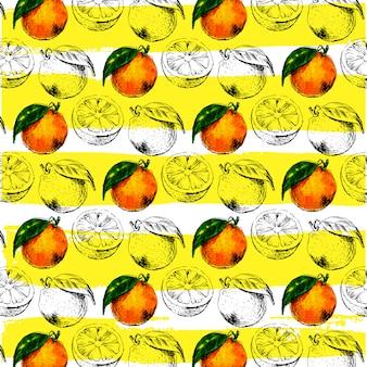 Doorbladert het waterverf naadloze patroon van oranje fruit met. illustratie van citrus oranje vruchten. eco food illustration zomer slogan