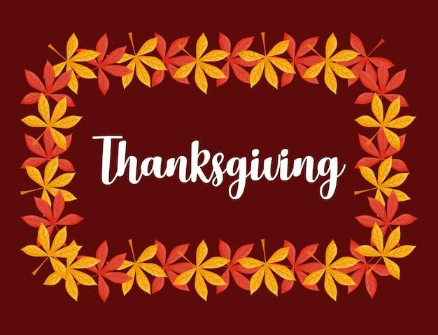 Doorbladert kader van thanksgiving day Premium Vector