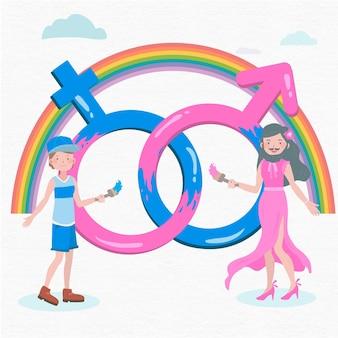 Doorbreek gendernormen geïllustreerd concept