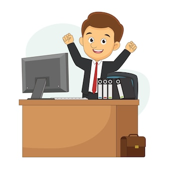 Doordachte kantoorzakenman die opstaat van zijn bureau