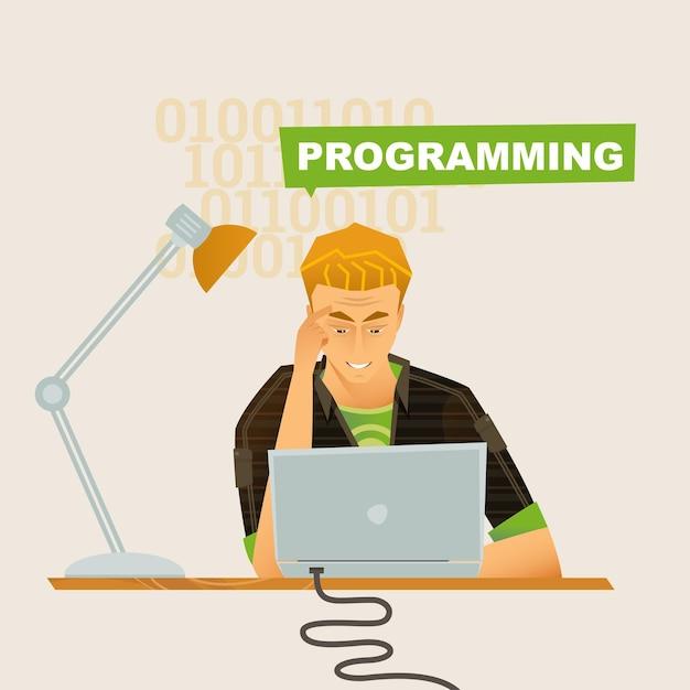 Doordachte programmeur op de werkplek vector platte illustraties zakelijk thema