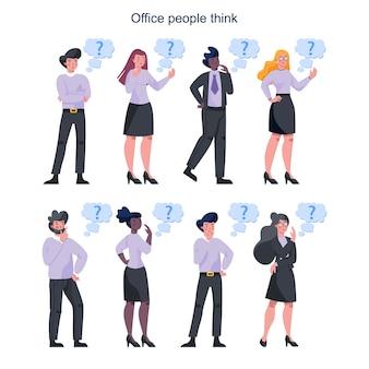 Doordachte zakenmensen ingesteld. vrouw en man denken op zoek naar oplossingen voor het probleem. broeierige persoon.