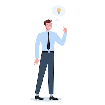 Doordachte zakenmensen. man denken op zoek naar oplossingen voor het probleem. broeierige persoon.