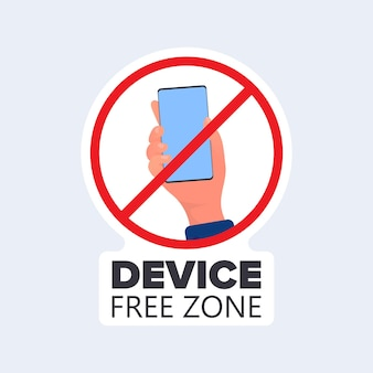 Doorgestreept handpictogram met een telefoon. het concept van het verbieden van apparaten, apparaatvrije zone, digitale detox. leeg voor sticker. geïsoleerd. vector.