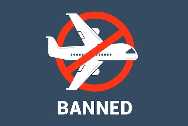 Doorgestreept vliegtuig. annulering van het luchtverkeer tussen landen. platte vectorillustratie.