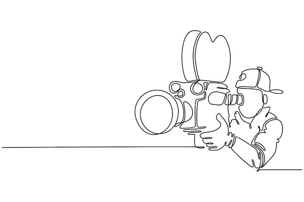 Doorlopende lijn mannelijke operator camera vectorillustratie