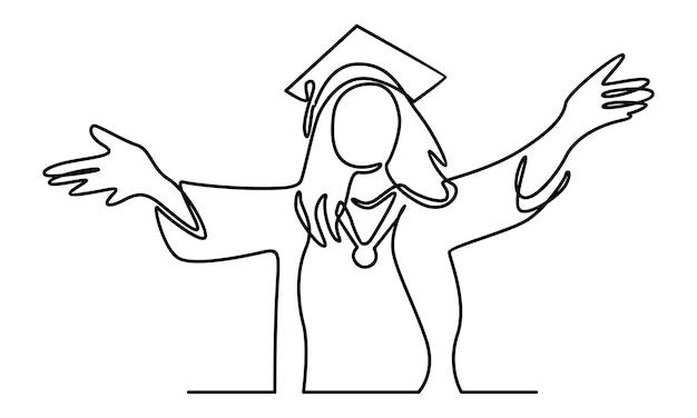 Doorlopende lijn van afstuderen vrouw illustratie