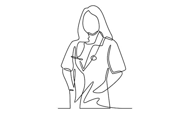 Doorlopende lijn van arts met stethoscoopillustratie