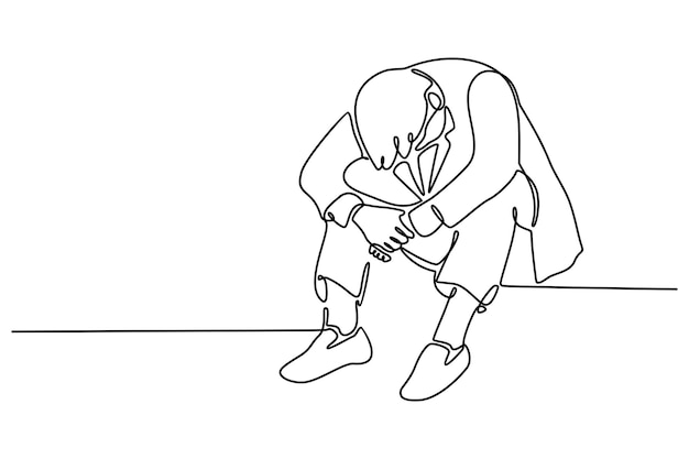 Doorlopende lijn van baas zittend naar beneden kijken duizelig geconfronteerd met solide werk vectorillustratie