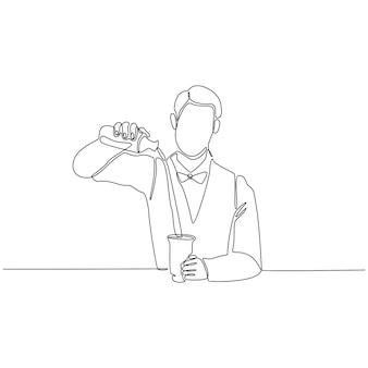 Doorlopende lijn van barman die wijnfles opent vectorbeelden