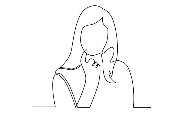 Doorlopende lijn van denkende vrouw die wegkijkt illustratie