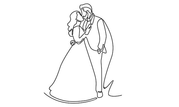 Doorlopende lijn van gelukkige bruidspaarillustratie