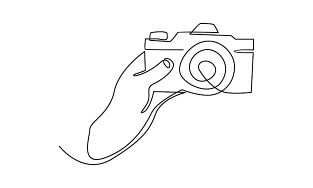 Doorlopende lijn van hand die de cameraillustratie vasthoudt