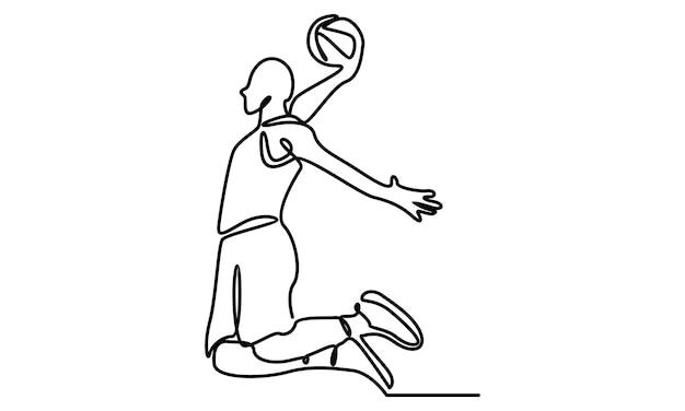 Doorlopende lijn van illustratie van basketbalspeler