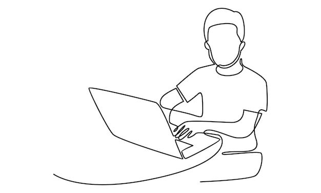Doorlopende lijn van man aan het werk op de illustratie van de laptopcomputer