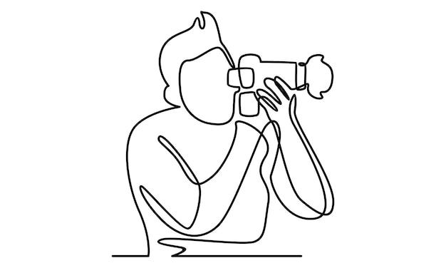 Doorlopende lijn van man met camera-afbeelding