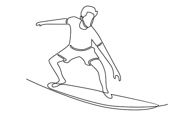 Doorlopende lijn van man met surfplankillustratie