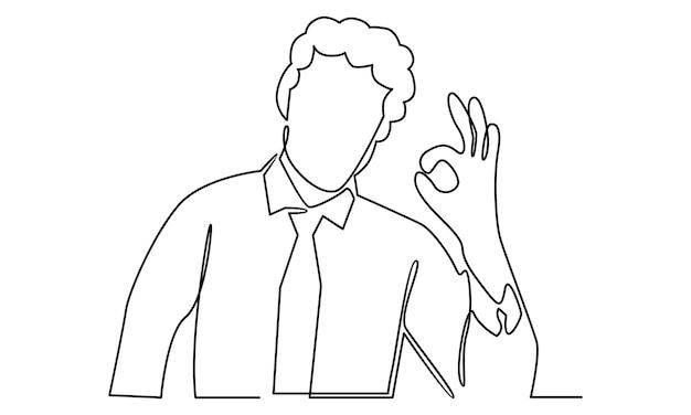 Doorlopende lijn van man toont ok teken illustratie