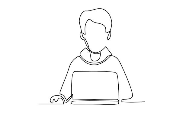Doorlopende lijn van mensenwerk met laptopillustratie