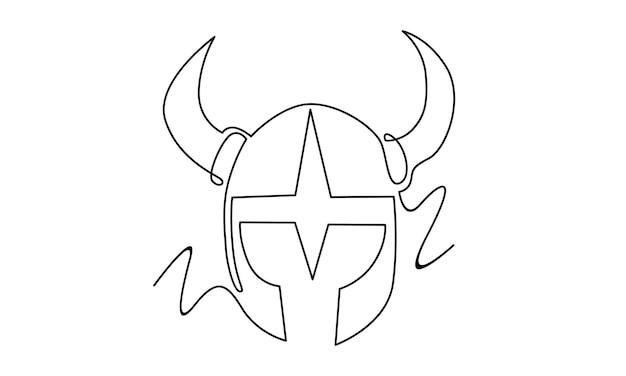 Doorlopende lijn van vikinghelmillustratie