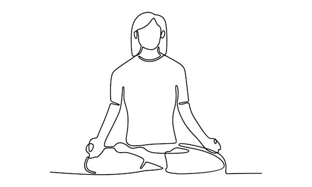 Doorlopende lijn van vrouw die met gekruiste benen op de vloer zit en illustratie mediteert