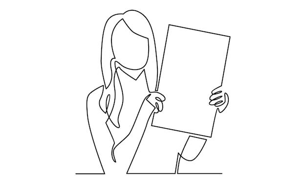Doorlopende lijn van vrouw met een bordillustratie