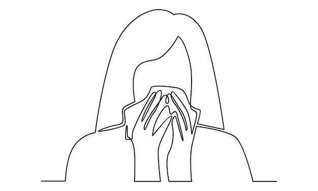 Doorlopende lijn van vrouw met zakdoekillustratie