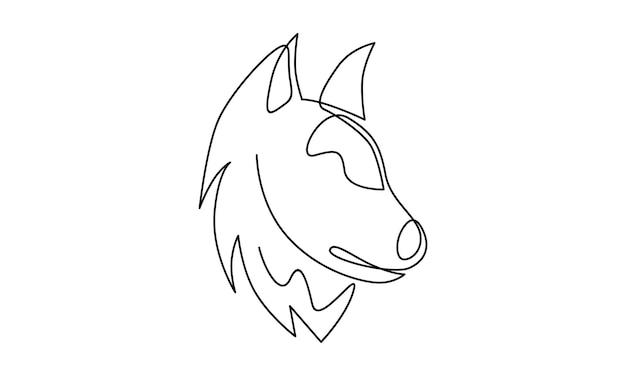 Doorlopende lijn van wolfsillustratie