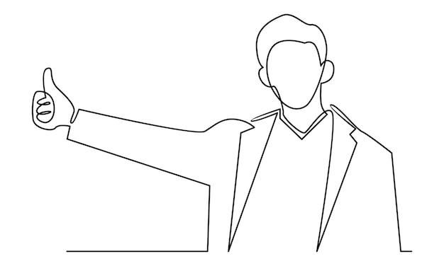 Doorlopende lijn van zakenman die duimen omhoog illustratie maakt