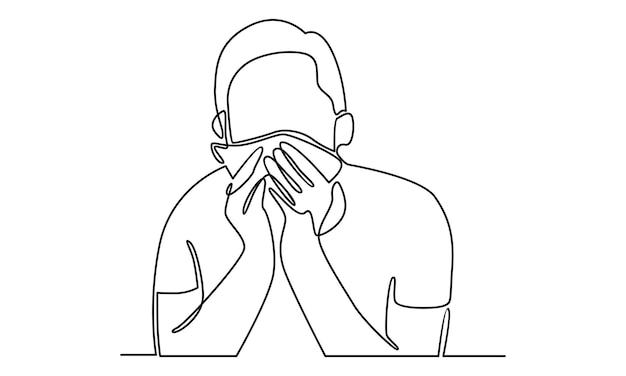 Doorlopende lijn van zieke jongeman die weefsel vasthoudt en in zakdoekillustratie niest