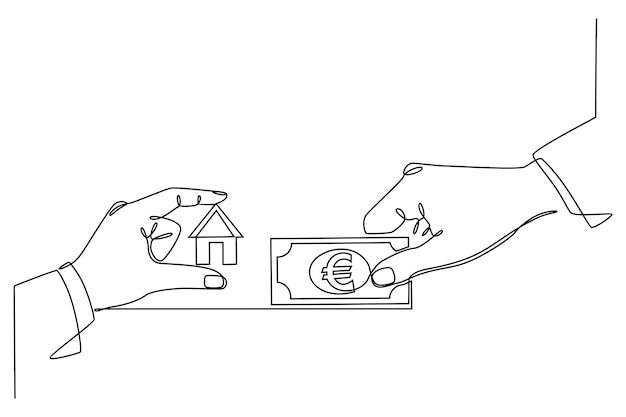 Doorlopende lijntekening die de huisrekening betaalt of een huis koopt vector