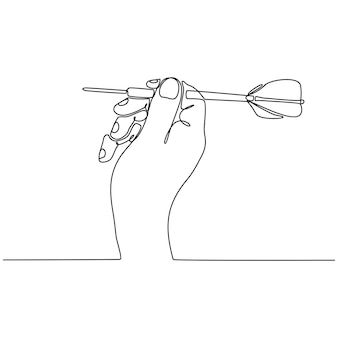 Doorlopende lijntekening hand dart vectorillustratie