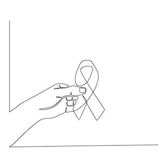 Doorlopende lijntekening hand met lint gezondheid concept vectorillustratie
