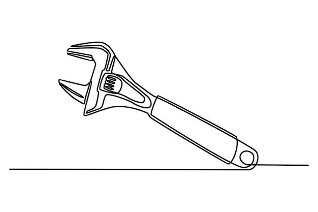 Doorlopende lijntekening moersleutel vectorillustratie