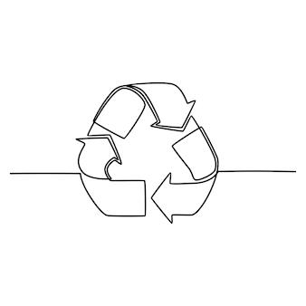 Doorlopende lijntekening recycle symbool vectorillustratie