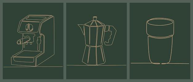 Doorlopende lijntekening set van koffie maken iconen vector illustratie