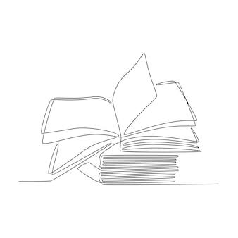 Doorlopende lijntekening stapel boeken vectorillustratie
