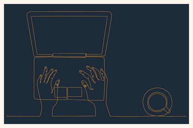 Doorlopende lijntekening thuis werken op afstand freelance online baan concept vectorillustratie
