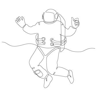 Doorlopende lijntekening van een astronaut die met een duim omhoog vliegt vectorillustratie