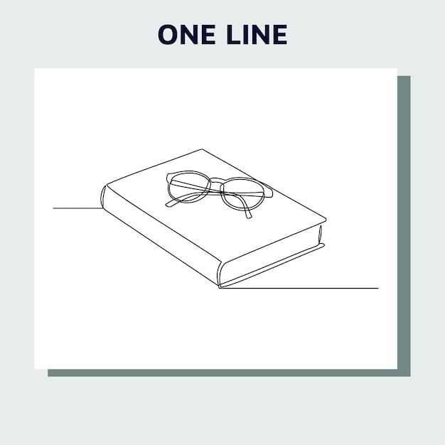 Doorlopende lijntekening van een boek en glas