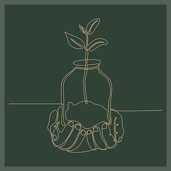 Doorlopende lijntekening van een hand met een glazen beker met kruiden bedrijfsconcept