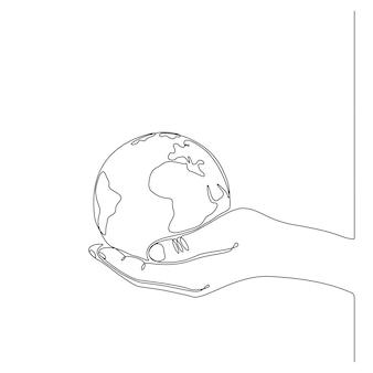 Doorlopende lijntekening van een hand met een wereldbol vectorillustratie