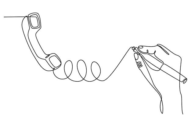 Doorlopende lijntekening van een handgetekende mobiele telefoon