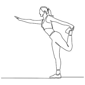 Doorlopende lijntekening van een jonge vrouw die aan het opwarmen is voordat ze gaat joggen vectorbeelden