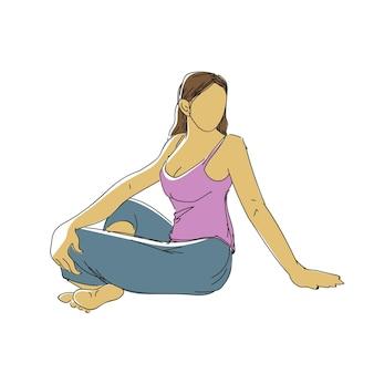 Doorlopende lijntekening van een jonge vrouw die yoga-fitnessoefeningen doet